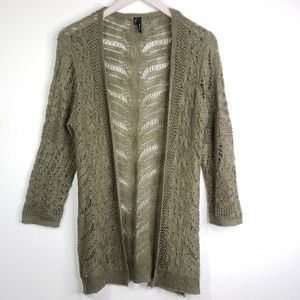 MAURICES Olive Green Ligt Knit Cardigan Sweater L